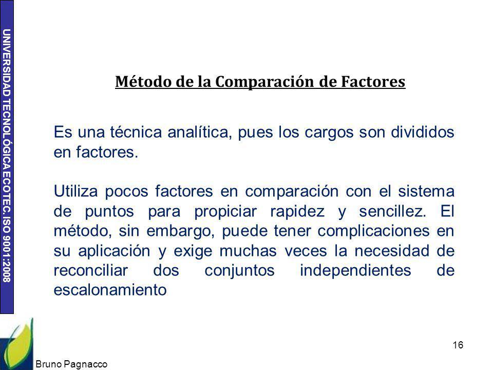 UNIVERSIDAD TECNOLÓGICA ECOTEC. ISO 9001:2008 Bruno Pagnacco 16 Método de la Comparación de Factores Es una técnica analítica, pues los cargos son div