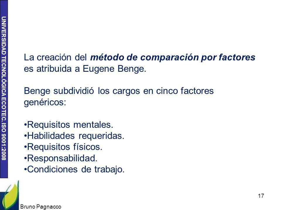 UNIVERSIDAD TECNOLÓGICA ECOTEC. ISO 9001:2008 Bruno Pagnacco 17 La creación del método de comparación por factores es atribuida a Eugene Benge. Benge