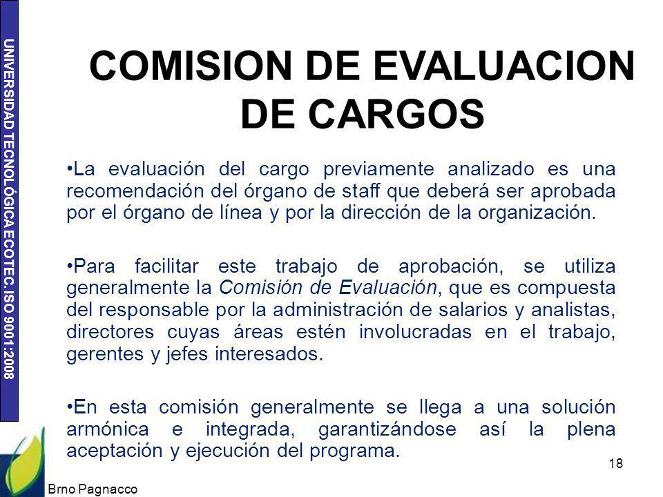 UNIVERSIDAD TECNOLÓGICA ECOTEC. ISO 9001:2008 Brno Pagnacco 18 COMISION DE EVALUACION DE CARGOS La evaluación del cargo previamente analizado es una r