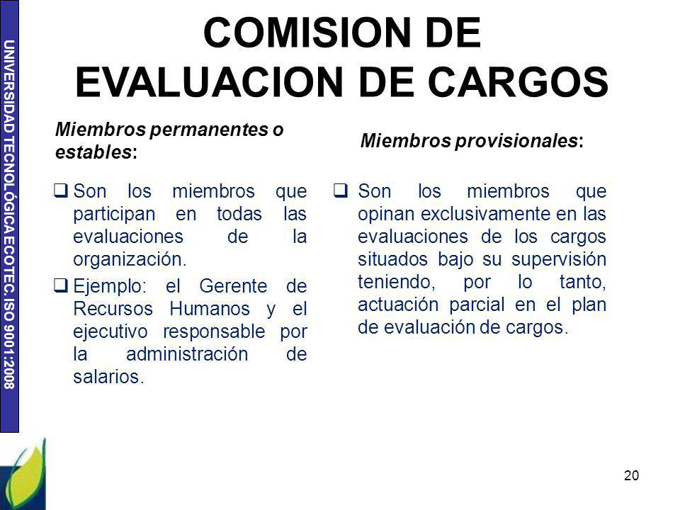 UNIVERSIDAD TECNOLÓGICA ECOTEC. ISO 9001:2008 20 COMISION DE EVALUACION DE CARGOS Miembros permanentes o estables: Miembros provisionales: Son los mie