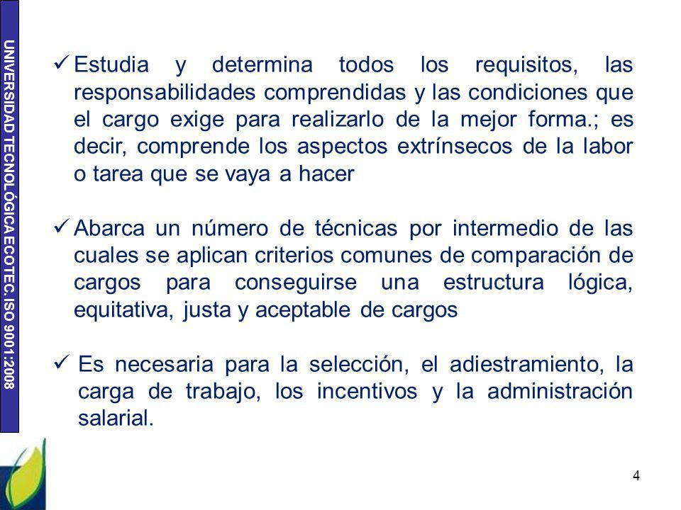 UNIVERSIDAD TECNOLÓGICA ECOTEC. ISO 9001:2008 4 Estudia y determina todos los requisitos, las responsabilidades comprendidas y las condiciones que el