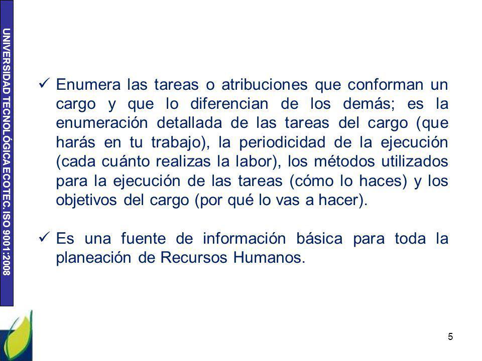 UNIVERSIDAD TECNOLÓGICA ECOTEC. ISO 9001:2008 6 METODOS DE EVALUACION DE CARGOS