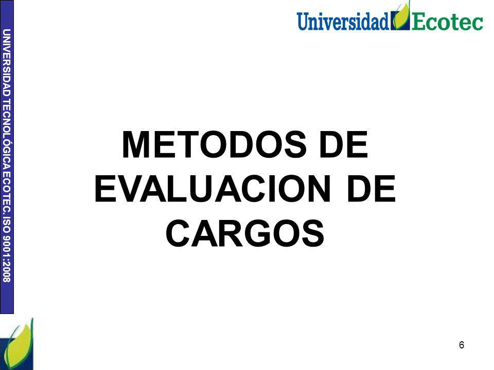 UNIVERSIDAD TECNOLÓGICA ECOTEC.ISO 9001:2008 7 METODOS DE EVALUACION DE CARGOS.