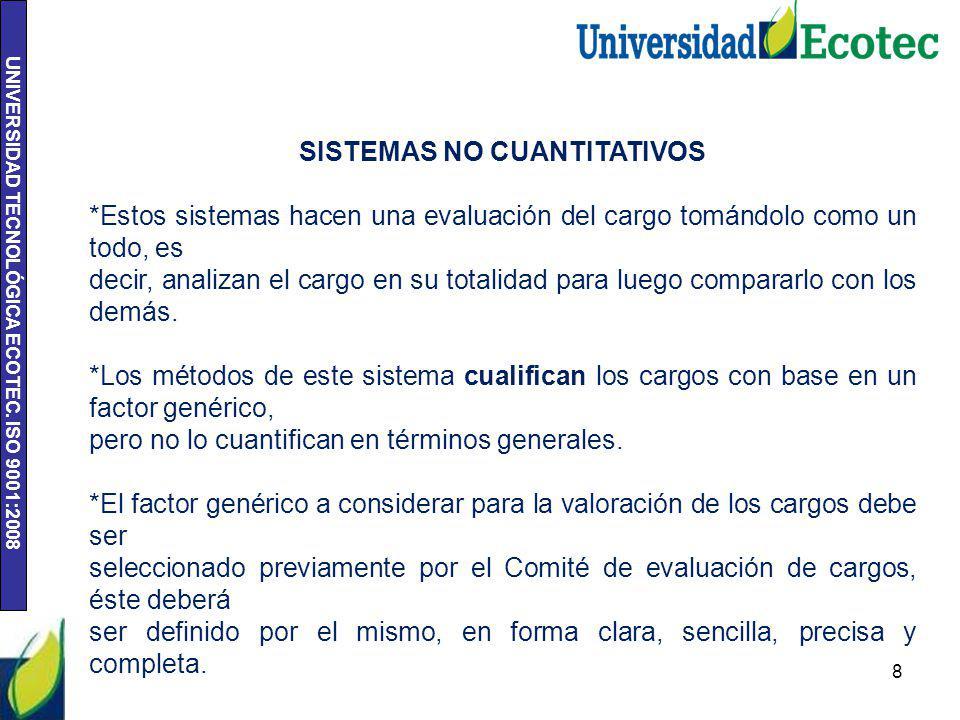 UNIVERSIDAD TECNOLÓGICA ECOTEC. ISO 9001:2008 8 SISTEMAS NO CUANTITATIVOS *Estos sistemas hacen una evaluación del cargo tomándolo como un todo, es de