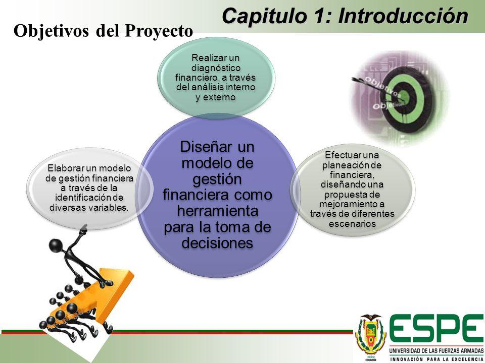 Capitulo 1: Introducción Objetivos del Proyecto Diseñar un modelo de gestión financiera como herramienta para la toma de decisiones Realizar un diagnó