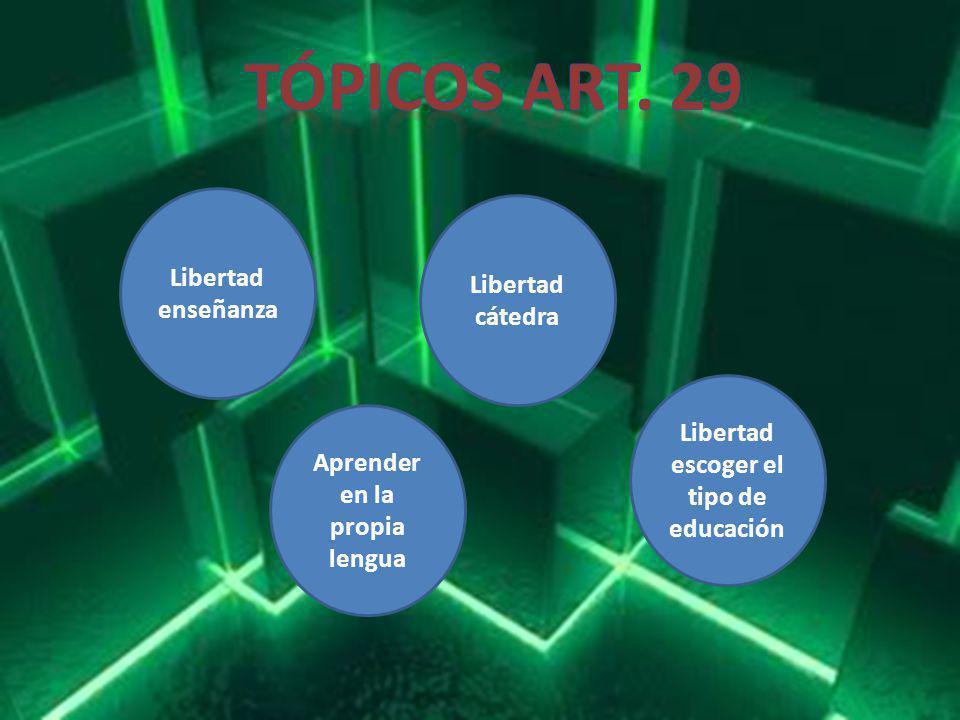 Libertad enseñanza Libertad cátedra Aprender en la propia lengua Libertad escoger el tipo de educación