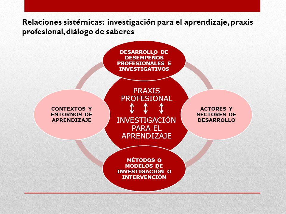 Relaciones sistémicas: investigación para el aprendizaje, praxis profesional, diálogo de saberes PRAXIS PROFESIONAL INVESTIGACIÓN PARA EL APRENDIZAJE DESARROLLO DE DESEMPEÑOS PROFESIONALES E INVESTIGATIVOS ACTORES Y SECTORES DE DESARROLLO MÉTODOS O MODELOS DE INVESTIGACIÓN O INTERVENCIÓN CONTEXTOS Y ENTORNOS DE APRENDIZAJE