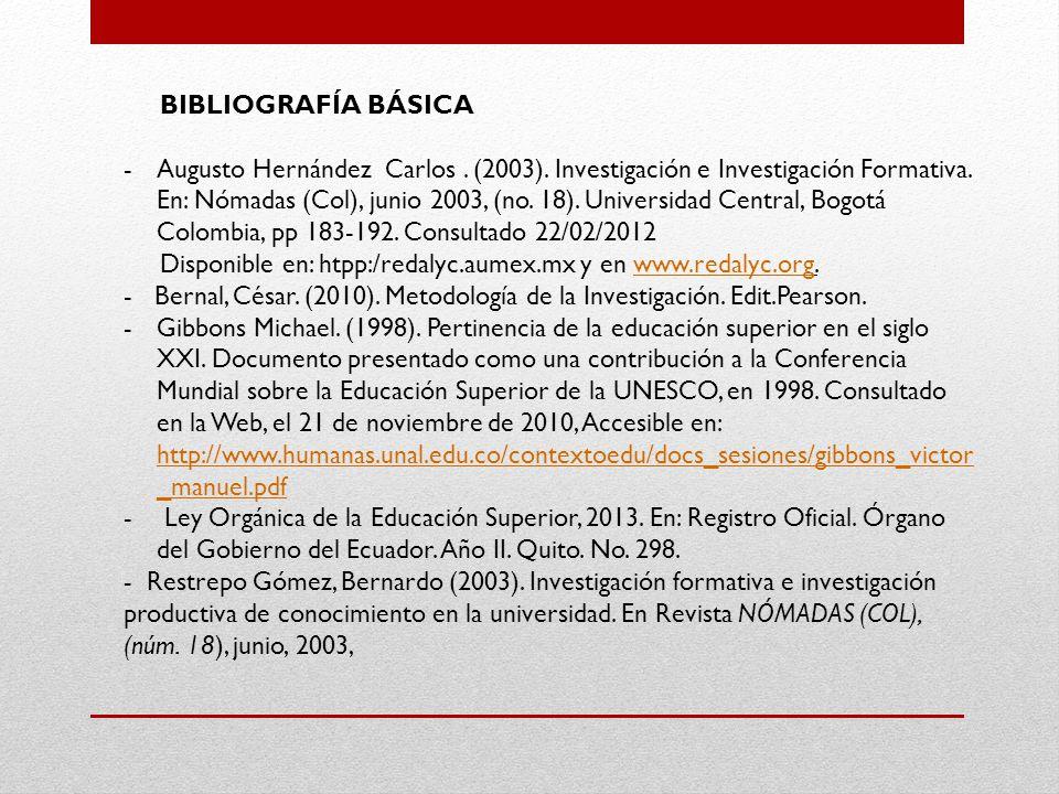 BIBLIOGRAFÍA BÁSICA -Augusto Hernández Carlos.(2003).