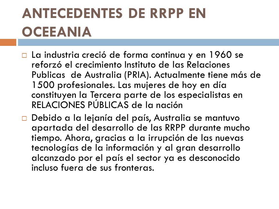 ANTECEDENTES DE RRPP EN OCEEANIA La industria creció de forma continua y en 1960 se reforzó el crecimiento Instituto de las Relaciones Publicas de Aus