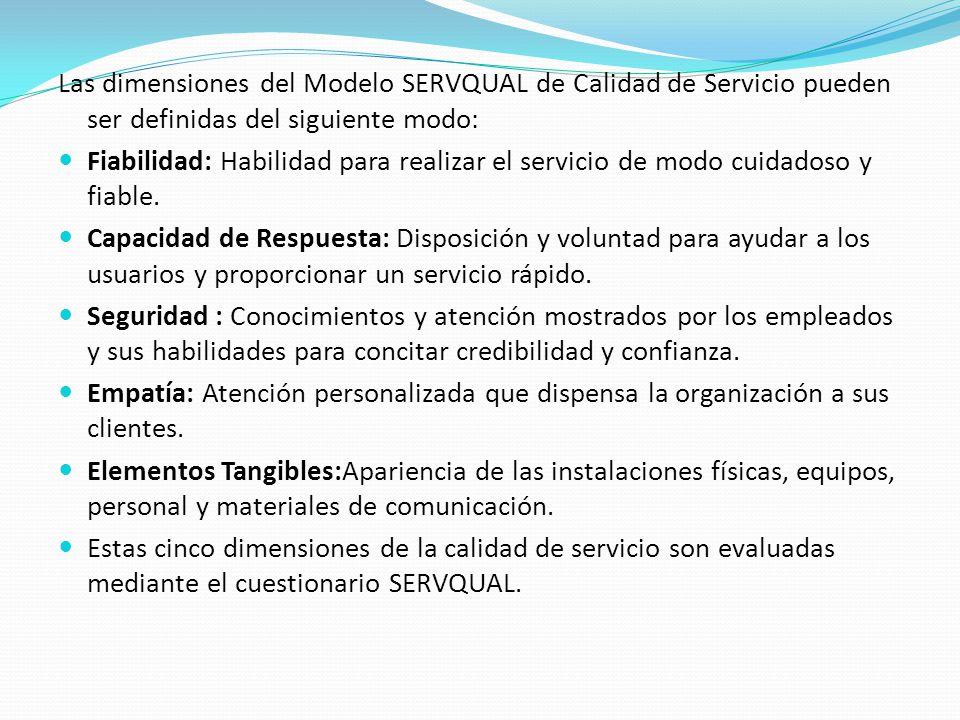 Las dimensiones del Modelo SERVQUAL de Calidad de Servicio pueden ser definidas del siguiente modo: Fiabilidad: Habilidad para realizar el servicio de modo cuidadoso y fiable.