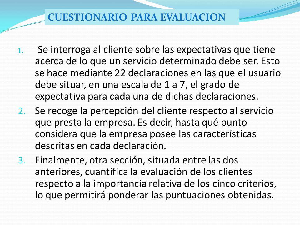 1. Se interroga al cliente sobre las expectativas que tiene acerca de lo que un servicio determinado debe ser. Esto se hace mediante 22 declaraciones