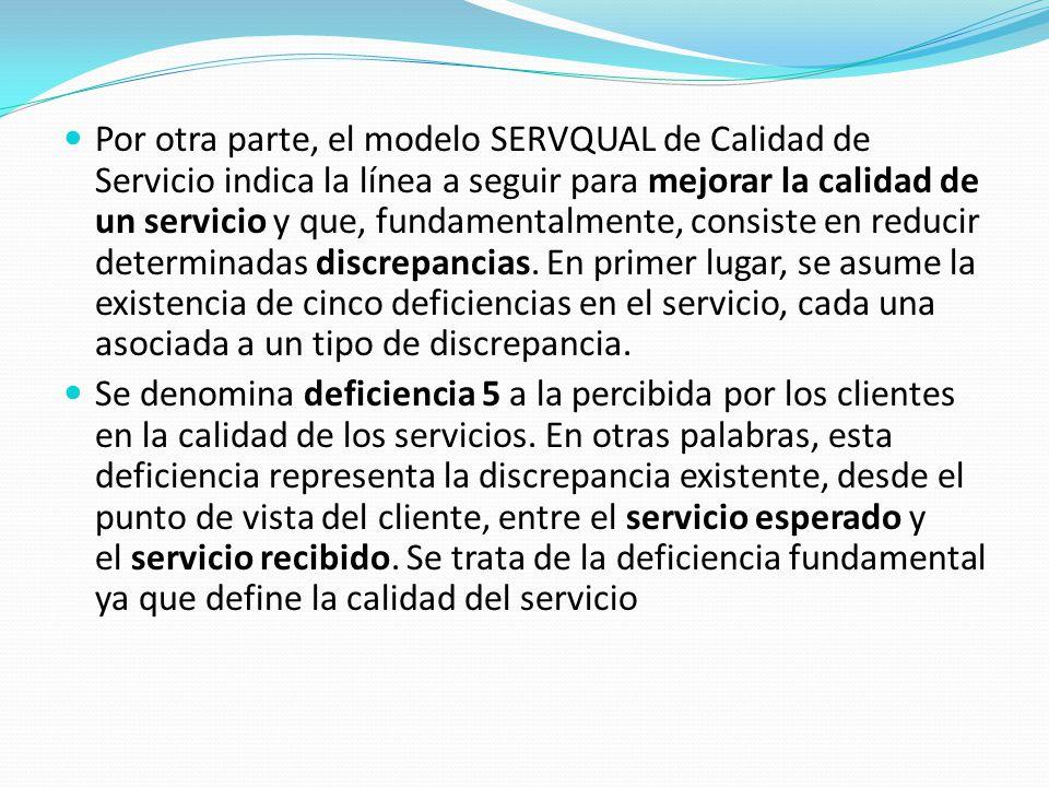 Por otra parte, el modelo SERVQUAL de Calidad de Servicio indica la línea a seguir para mejorar la calidad de un servicio y que, fundamentalmente, consiste en reducir determinadas discrepancias.