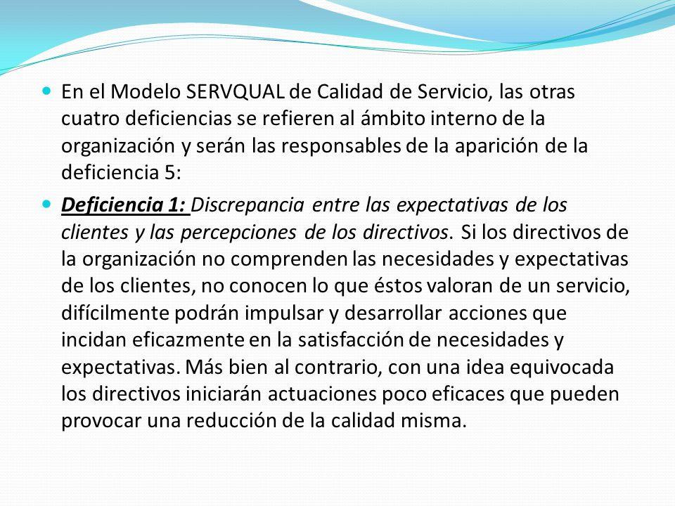 En el Modelo SERVQUAL de Calidad de Servicio, las otras cuatro deficiencias se refieren al ámbito interno de la organización y serán las responsables de la aparición de la deficiencia 5: Deficiencia 1: Discrepancia entre las expectativas de los clientes y las percepciones de los directivos.