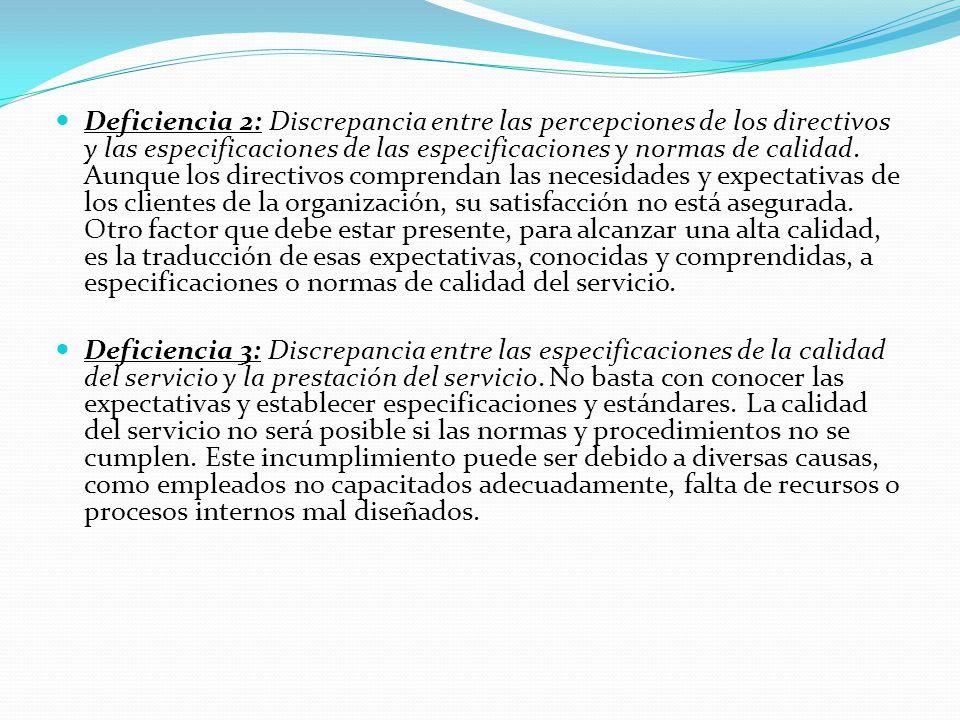 Deficiencia 2: Discrepancia entre las percepciones de los directivos y las especificaciones de las especificaciones y normas de calidad.