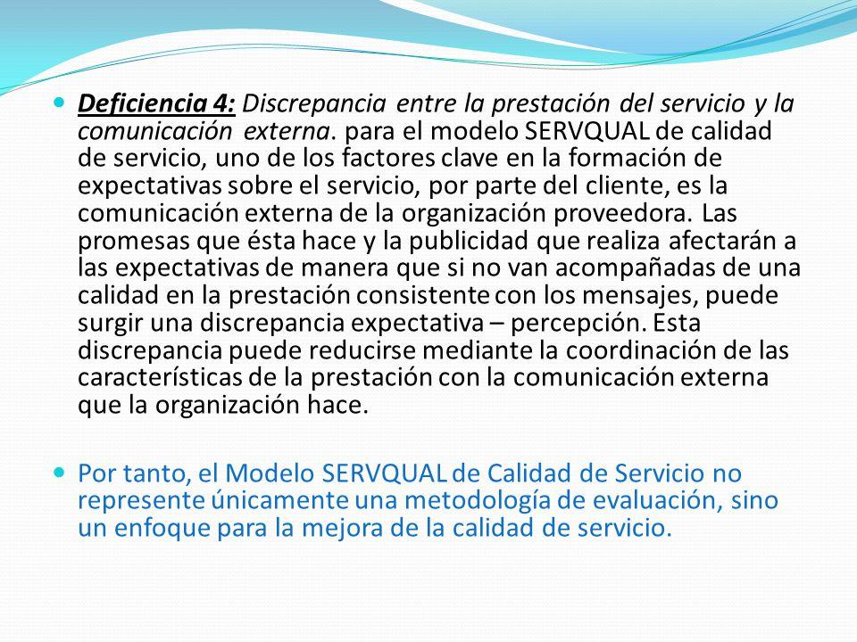 Deficiencia 4: Discrepancia entre la prestación del servicio y la comunicación externa.