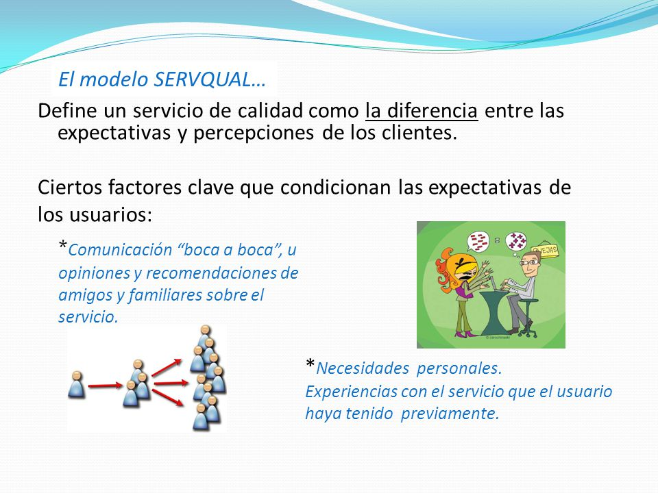 Define un servicio de calidad como la diferencia entre las expectativas y percepciones de los clientes.