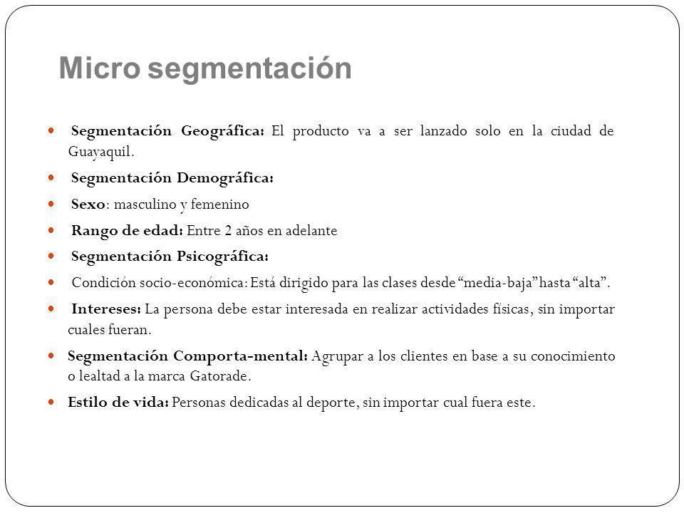 Segmentación Geográfica: El producto va a ser lanzado solo en la ciudad de Guayaquil.