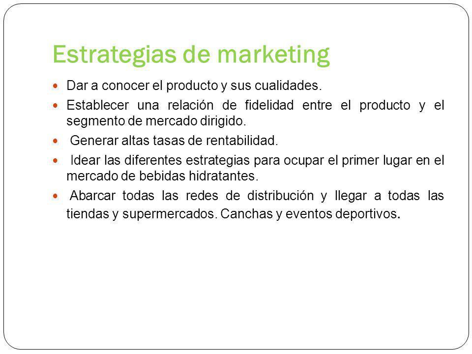 Estrategias de marketing Dar a conocer el producto y sus cualidades.