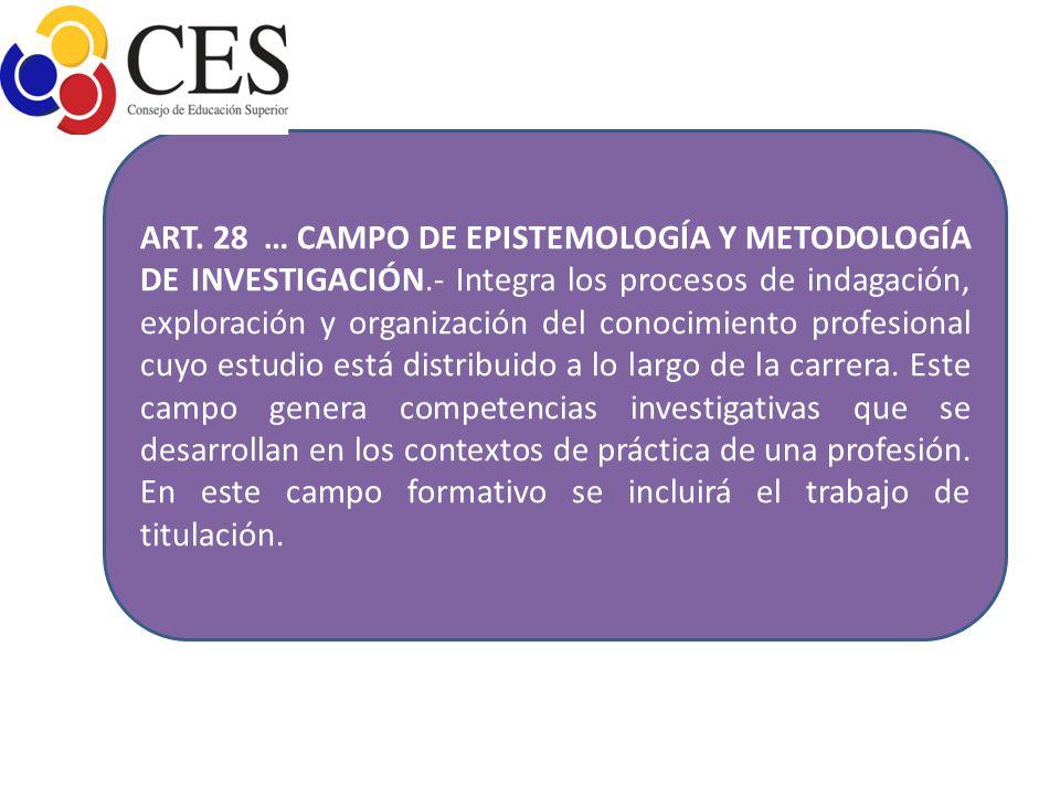 ART. 28 … CAMPO DE EPISTEMOLOGÍA Y METODOLOGÍA DE INVESTIGACIÓN.- Integra los procesos de indagación, exploración y organización del conocimiento prof