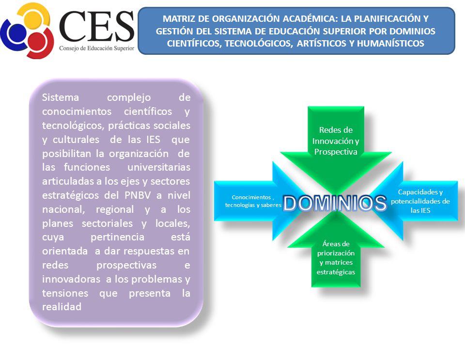 Sistema complejo de conocimientos científicos y tecnológicos, prácticas sociales y culturales de las IES que posibilitan la organización de las funcio