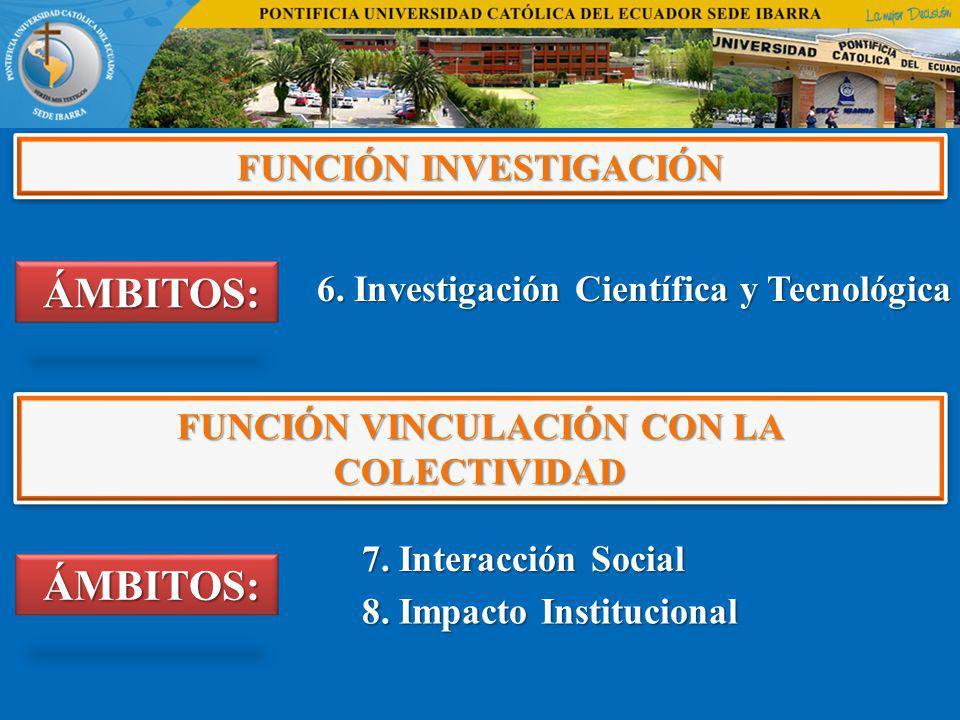 FUNCIÓN INVESTIGACIÓN ÁMBITOS: ÁMBITOS: 6. Investigación Científica y Tecnológica 6. Investigación Científica y Tecnológica FUNCIÓN VINCULACIÓN CON LA