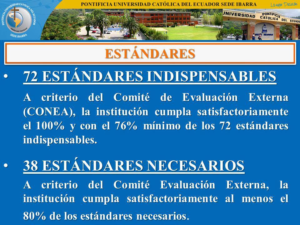 72 ESTÁNDARES INDISPENSABLES 72 ESTÁNDARES INDISPENSABLES A criterio del Comité de Evaluación Externa (CONEA), la institución cumpla satisfactoriament