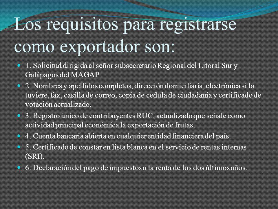 Los requisitos para registrarse como exportador son: 1. Solicitud dirigida al señor subsecretario Regional del Litoral Sur y Galápagos del MAGAP. 2. N