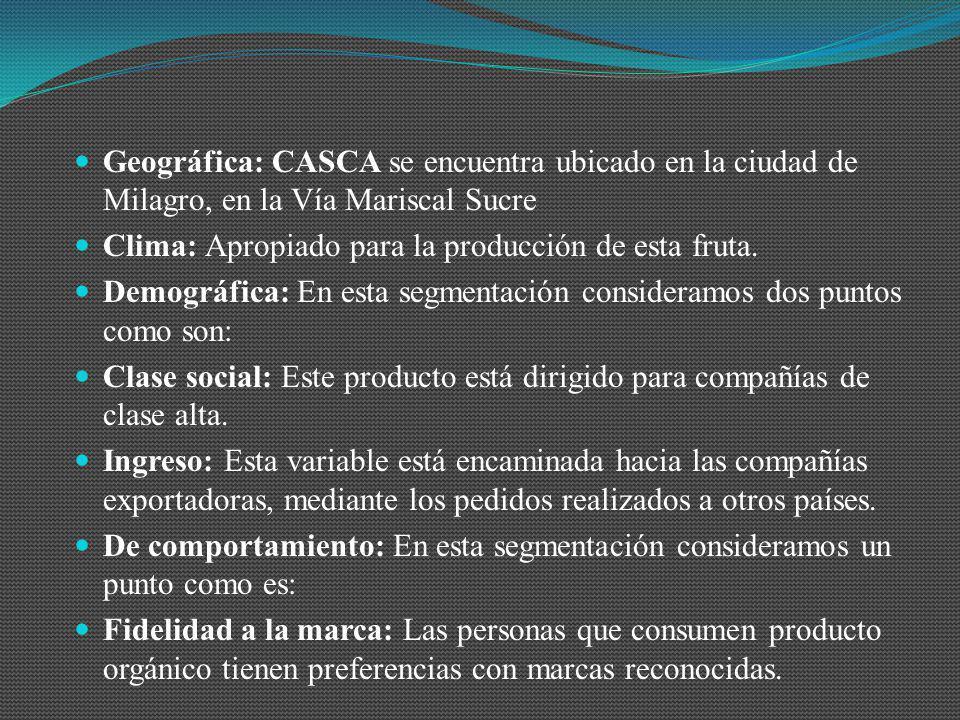 Geográfica: CASCA se encuentra ubicado en la ciudad de Milagro, en la Vía Mariscal Sucre Clima: Apropiado para la producción de esta fruta. Demográfic