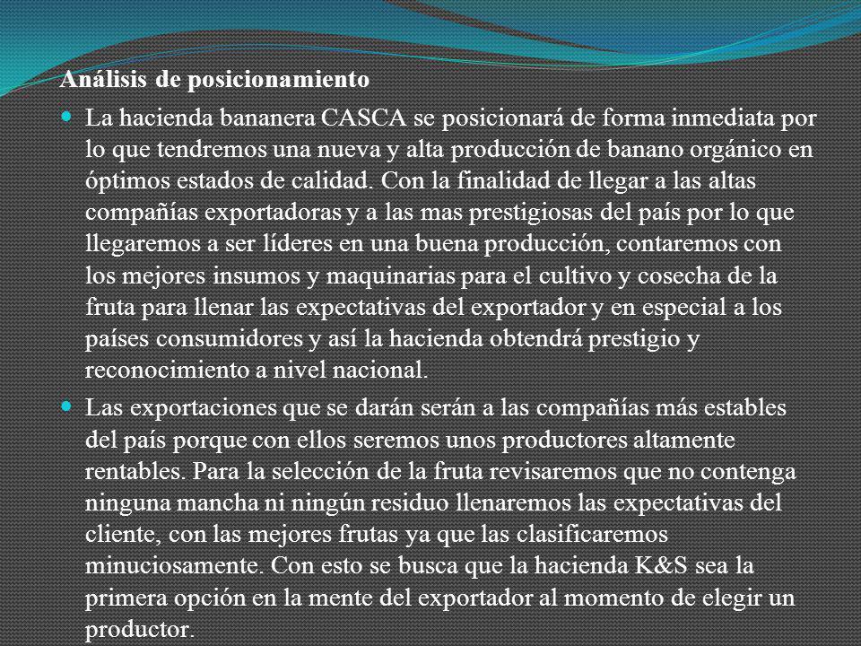 Análisis de posicionamiento La hacienda bananera CASCA se posicionará de forma inmediata por lo que tendremos una nueva y alta producción de banano or