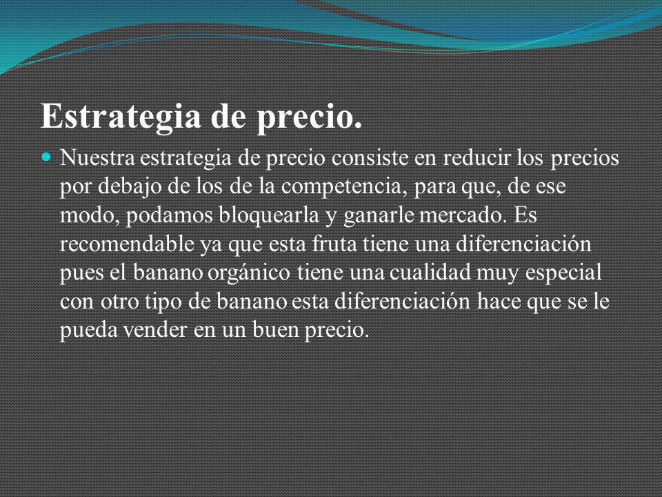 Estrategia de precio. Nuestra estrategia de precio consiste en reducir los precios por debajo de los de la competencia, para que, de ese modo, podamos