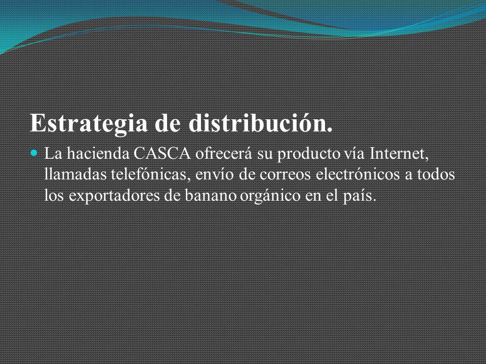 Estrategia de distribución. La hacienda CASCA ofrecerá su producto vía Internet, llamadas telefónicas, envío de correos electrónicos a todos los expor