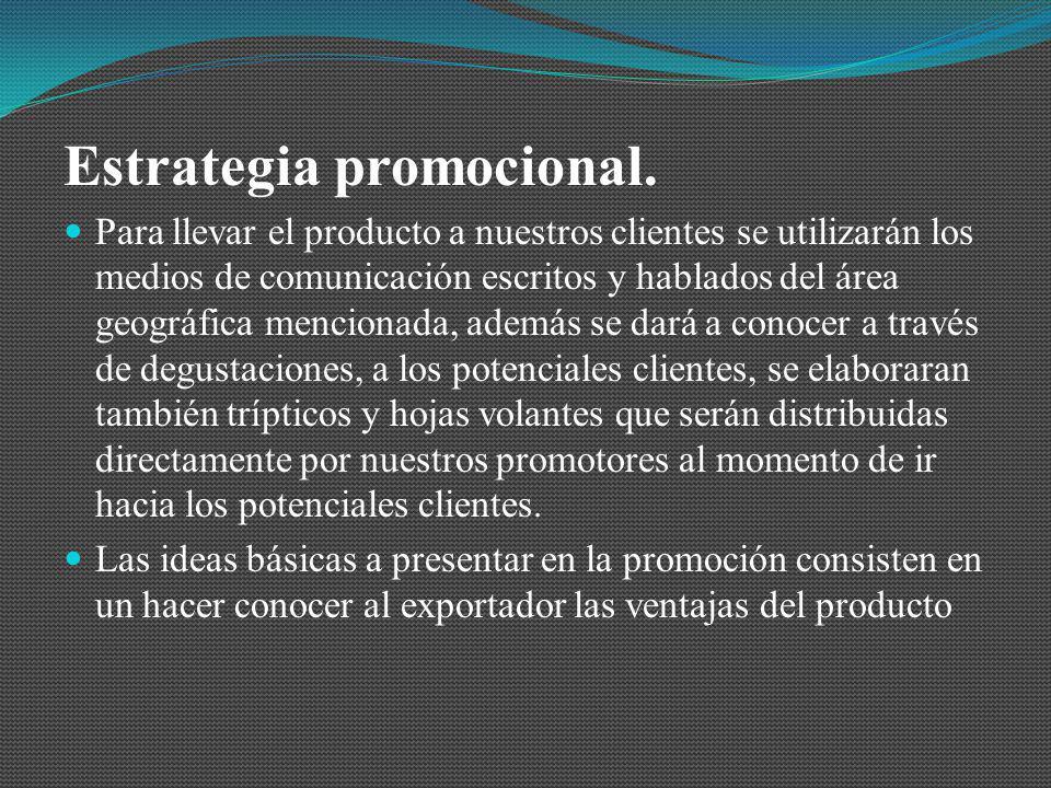 Estrategia promocional. Para llevar el producto a nuestros clientes se utilizarán los medios de comunicación escritos y hablados del área geográfica m