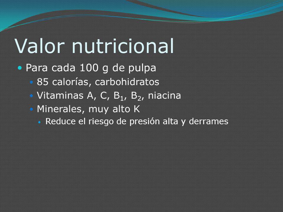 Valor nutricional Para cada 100 g de pulpa 85 calorías, carbohidratos Vitaminas A, C, B 1, B 2, niacina Minerales, muy alto K Reduce el riesgo de pres