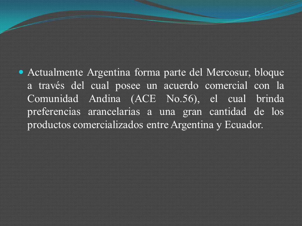 Actualmente Argentina forma parte del Mercosur, bloque a través del cual posee un acuerdo comercial con la Comunidad Andina (ACE No.56), el cual brind