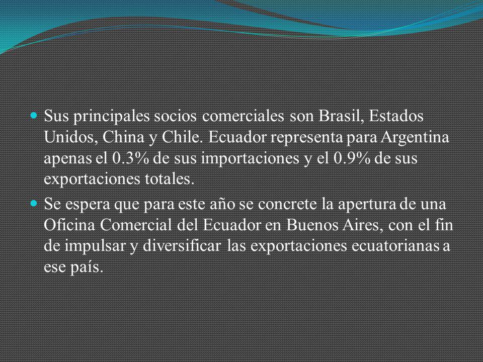 Sus principales socios comerciales son Brasil, Estados Unidos, China y Chile. Ecuador representa para Argentina apenas el 0.3% de sus importaciones y