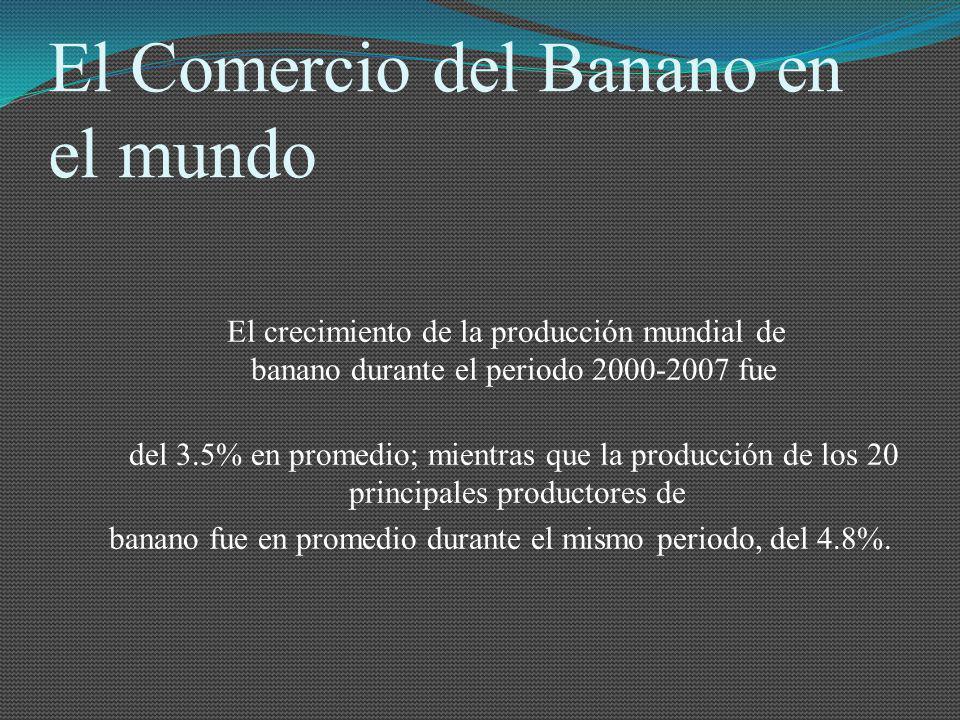 El Comercio del Banano en el mundo El crecimiento de la producción mundial de banano durante el periodo 2000-2007 fue del 3.5% en promedio; mientras q