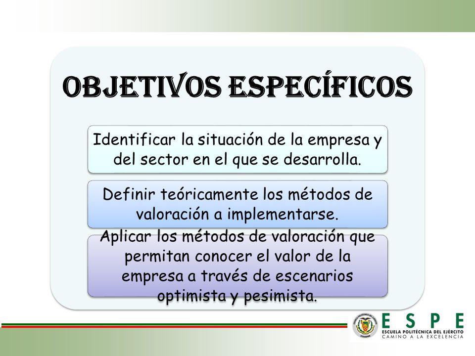 OBJETIVOS ESPECÍFICOS Identificar la situación de la empresa y del sector en el que se desarrolla. Definir teóricamente los métodos de valoración a im