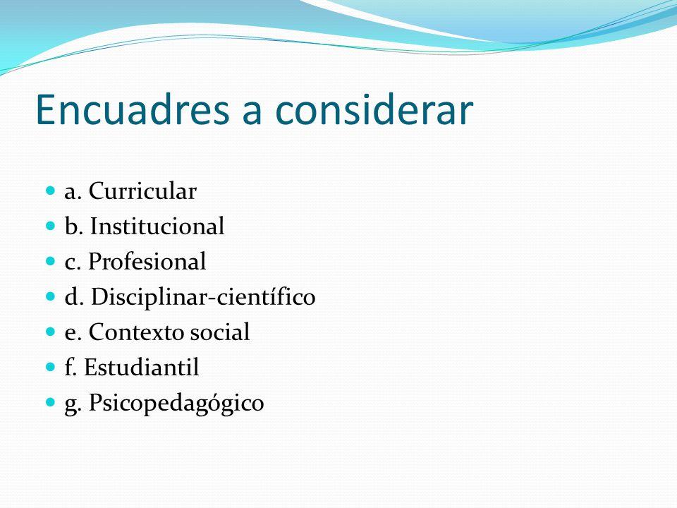 Encuadres a considerar a. Curricular b. Institucional c. Profesional d. Disciplinar-científico e. Contexto social f. Estudiantil g. Psicopedagógico