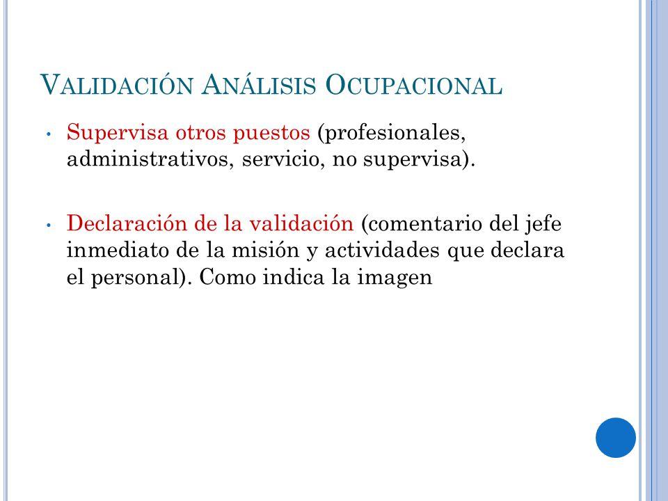 V ALIDACIÓN A NÁLISIS O CUPACIONAL Supervisa otros puestos (profesionales, administrativos, servicio, no supervisa).