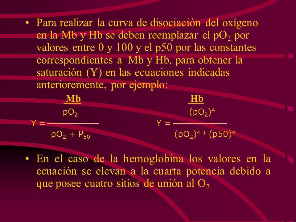La fracción de saturación Y se define como: [MbO 2 ] (2) Y = [MbO 2 ] + [Mb] Sustituyendo la ecuación 1 en la 2 resulta : [O 2 ] Y = [O 2 ] + K Puesto