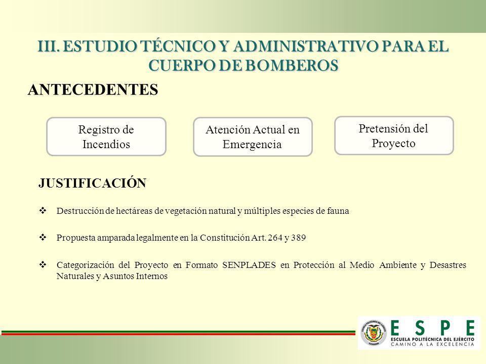 III. ESTUDIO TÉCNICO Y ADMINISTRATIVO PARA EL CUERPO DE BOMBEROS ANTECEDENTES Registro de Incendios Pretensión del Proyecto Atención Actual en Emergen