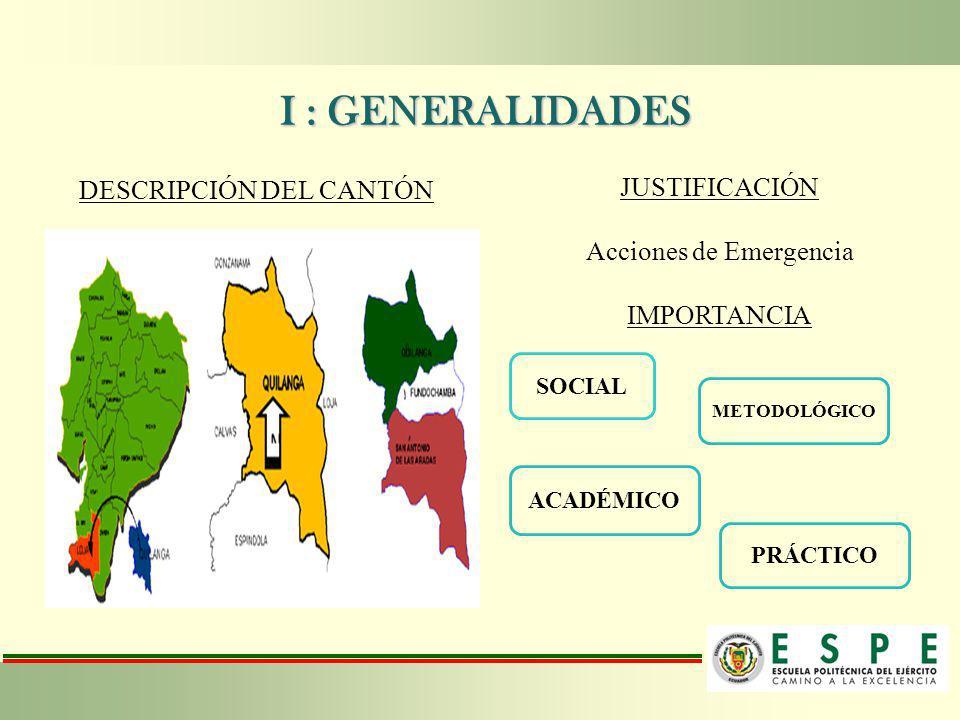 I : GENERALIDADES I : GENERALIDADES DESCRIPCIÓN DEL CANTÓN JUSTIFICACIÓN Acciones de Emergencia IMPORTANCIA SOCIAL METODOLÓGICO ACADÉMICO PRÁCTICO