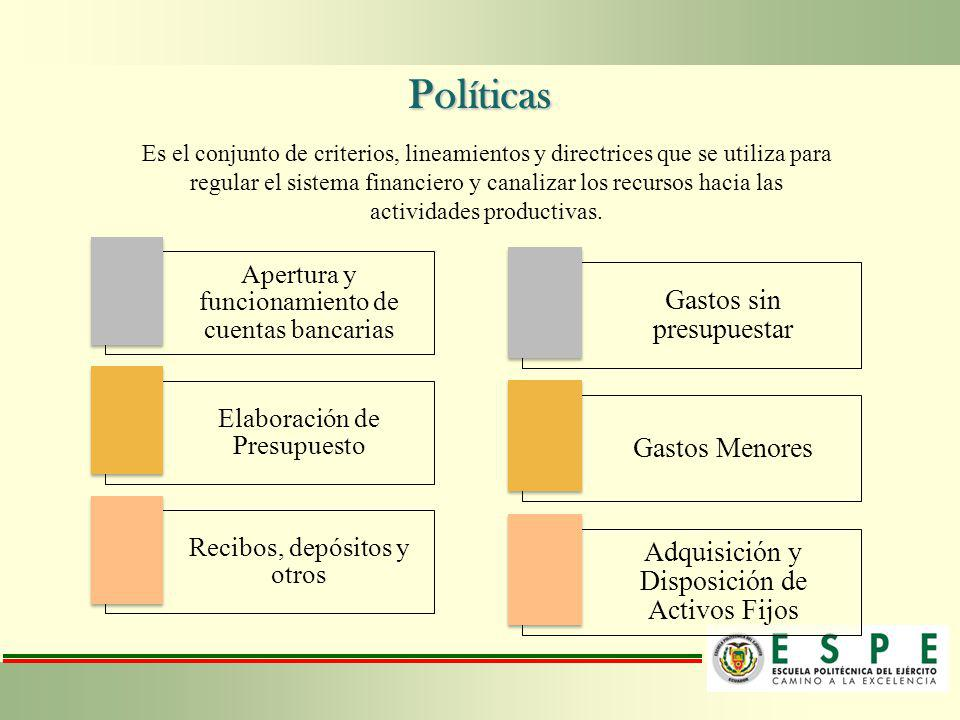 Políticas Es el conjunto de criterios, lineamientos y directrices que se utiliza para regular el sistema financiero y canalizar los recursos hacia las