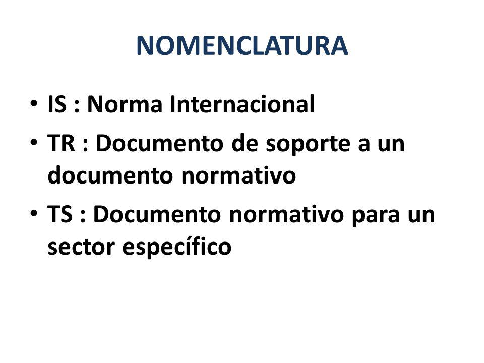 NOMENCLATURA IS : Norma Internacional TR : Documento de soporte a un documento normativo TS : Documento normativo para un sector específico