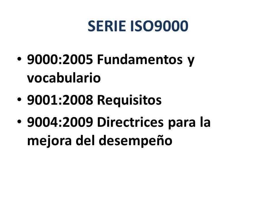 SERIE ISO9000 9000:2005 Fundamentos y vocabulario 9001:2008 Requisitos 9004:2009 Directrices para la mejora del desempeño