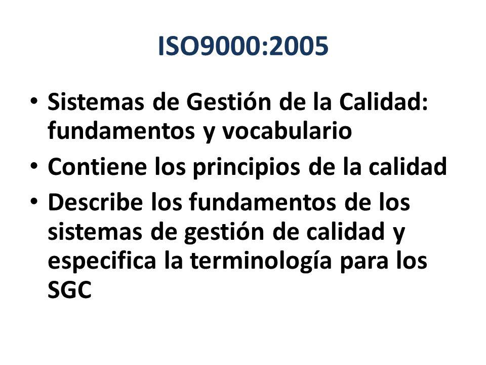 ISO9000:2005 Sistemas de Gestión de la Calidad: fundamentos y vocabulario Contiene los principios de la calidad Describe los fundamentos de los sistem