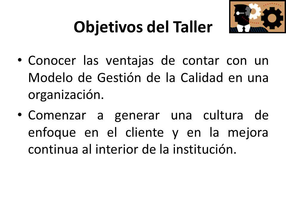 Objetivos del Taller Conocer las ventajas de contar con un Modelo de Gestión de la Calidad en una organización. Comenzar a generar una cultura de enfo