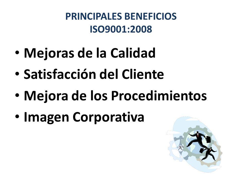 PRINCIPALES BENEFICIOS ISO9001:2008 Mejoras de la Calidad Satisfacción del Cliente Mejora de los Procedimientos Imagen Corporativa