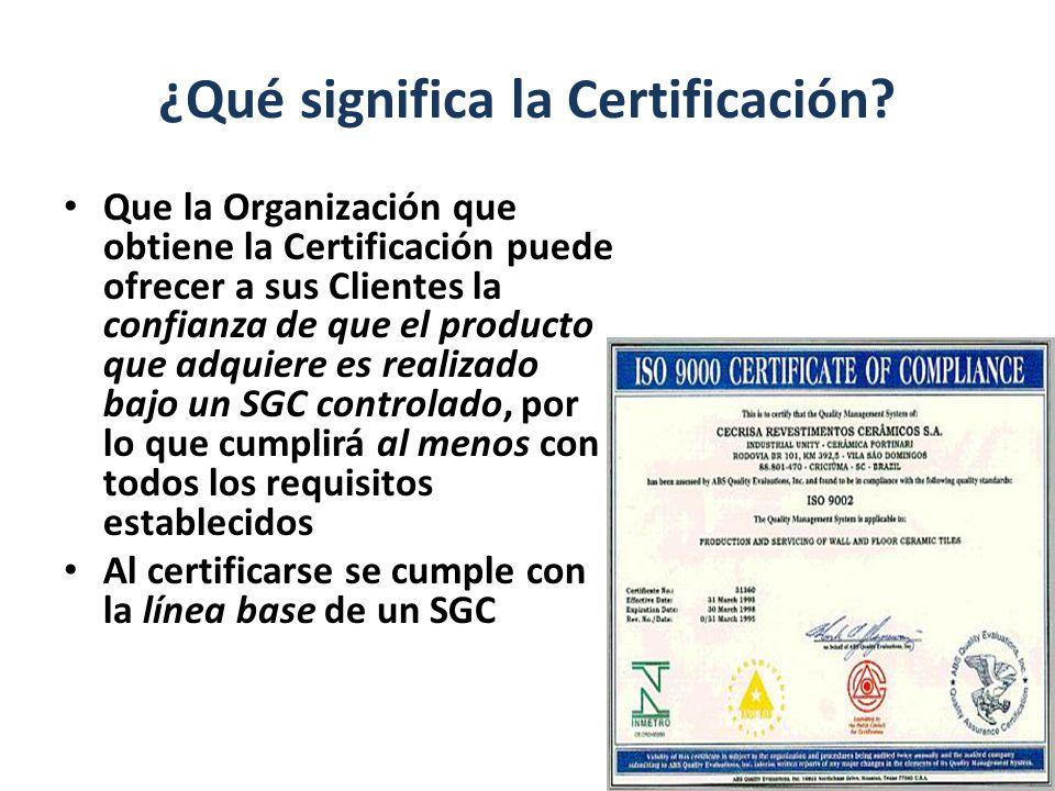 ¿Qué significa la Certificación? Que la Organización que obtiene la Certificación puede ofrecer a sus Clientes la confianza de que el producto que adq