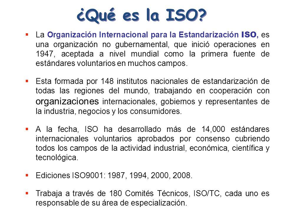 ¿Qué es la ISO? La Organización Internacional para la Estandarización ISO, es una organización no gubernamental, que inició operaciones en 1947, acept
